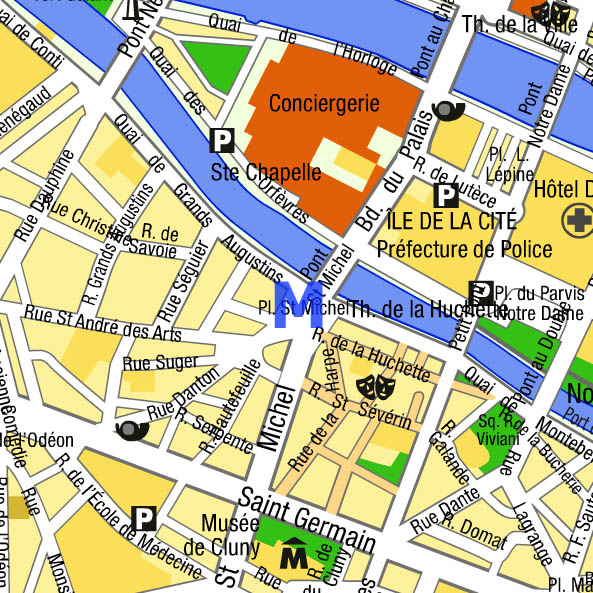 Paris mysterious place saint michel map quartier latin - Metro saint michel paris ...